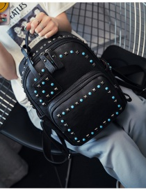 Fashion Black Rivets Decorated Simple Design Pure Color Backpack