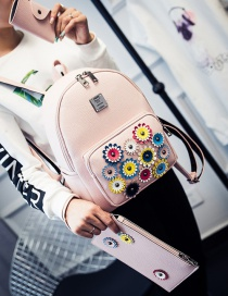 Fashion Pink Flower Shape Decorated Color Matching Backpack (3 Pcs)