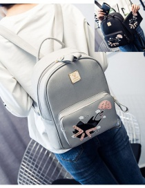 Trendy Gray Cat Pattern Decorated Pure Color Simple Backpack (3 Pcs)