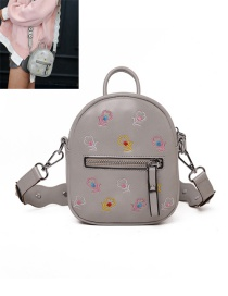 Trendy Gray Flower Pattern Zipper Design Pure Color Simple Backpack