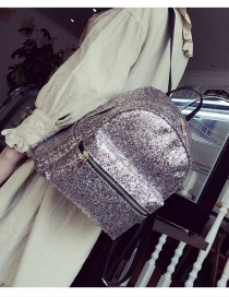 Fashion Silver Color Sequins Decorated Pure Color Simple Backpack