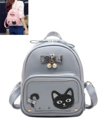 Fashion Gray Cat&bowknot Pattern Decorated Color Matching Backpack
