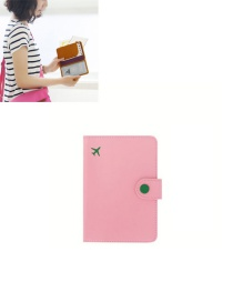 Fashion Light Pink Airplane Shape Pattern Decorated Pure Color Passport Wallet