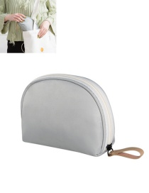 Fashion Gray Semicircle Shape Decorated Pure Color Simple Storage Bag