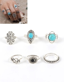Fashion Silver Color Gemstone Decorated Color Matching Hollow Out Ring (6pcs)