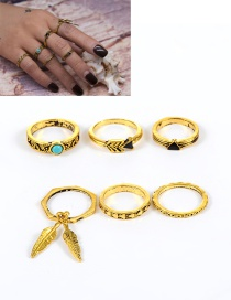 Fashion Gold Color Leaf Decorated Geometric Shape Simple Ring(6pcs)