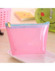 Fashion Pink Pure Color Decorated Trapezoid Shape Transparent Wallet