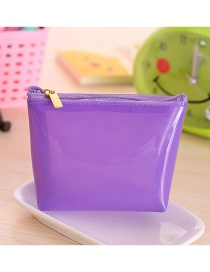 Fashion Purple Pure Color Decorated Trapezoid Shape Transparent Wallet