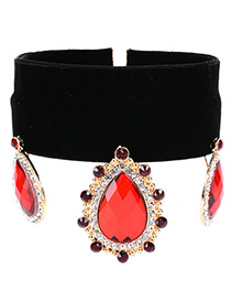 Vintage Red Oval Shape Pendant Decorated Simple Wide Choker