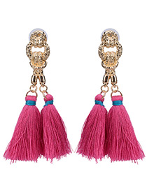 Bohemia Pink Double Tassel Pendant Decorated Simple Long Earrings
