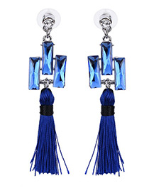 Bohemia Blue Square Shape Diamond Decorated Simple Tassel Earrings