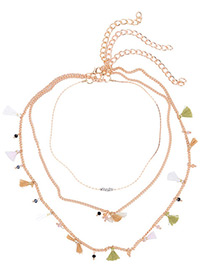 Fashion Gold Color Tassel Decorated Simple Pure Color Multilayer Necklace