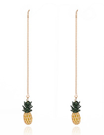 Fashion Yellow Pineapple Shape Pendant Decorated Long Chain Ear Cilp