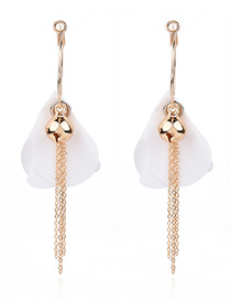 Elegant Gold Color Petal Shape Decorated Simple Long Chain Earrings