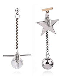 Personality Silver Color Metal Star Shape Decorated Simple Asymmetry Earrings
