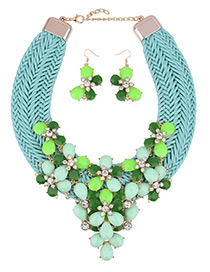 Bohemia Green Flower Shape Decorated Simple Hand-woven Design Jewelry Sets