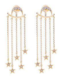 Fashion Gold Color Star Shape Pendant Decorated Simple Pure Color Earrings