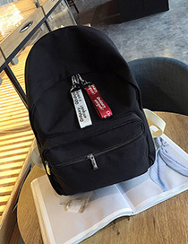 Fashion Black Pure Color Decorated Square Shape Simple Backpack