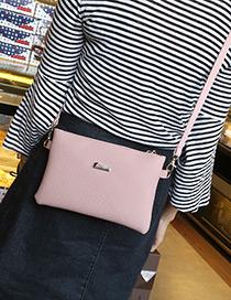 Fashion Pink Pure Color Decorated Square Shape Shoulder Bag