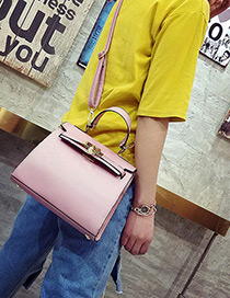 Fashion Pink Buckle Decorated Pure Color Simple Shoulder Bag