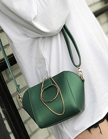 Fashion Green Circular Ring Decorated Pure Color Shell Shape Shoulder Bag