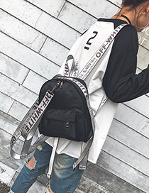 Fashion White Letter Pattern Decorated Color Matching Simple Backpack