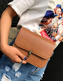 Trendy Light Brown Buckle Decorated Pure Color Simple Shoulder Bag