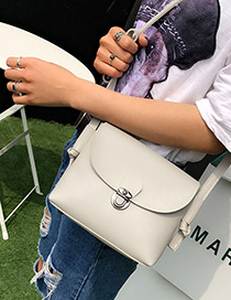 Fashion Gray Buckle Decorated Pure Color Simple Shoulder Bag