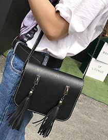 Fashion Black Long Tassel Decorated Pure Color Simple Shoulder Bag