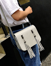 Fashion Gray Long Tassel Decorated Pure Color Simple Shoulder Bag