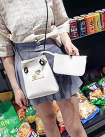 Fashion White Cartoon Pattern Decorated Bucket Shape Shoulder Bag (2pcs)