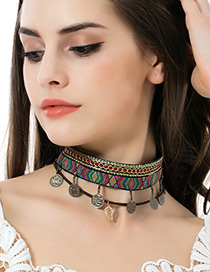 Fashion Multi-color Leaf&roound Shape Pendant Decorated Color Matching Choker