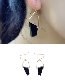 Fashion Black Crystal Decorated Geometry Design Simple Earrings