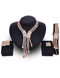 Fashion Gold Color Tassel Pendant Decorated Color Matching Jewelry Sets