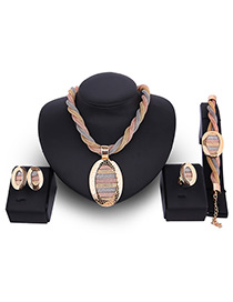 Fashion Gold Color Oval Shape Decorated Hollow Out Color Matching Jewelry Sets