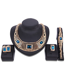 Fashion Gold Color+green Square Shape Diamond Decorated Hollow Out Jewelry Sets