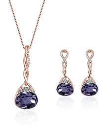 Fashion Rose Gold+purple Square Shape Diamond Decorated Color Matching Jewelry Sets