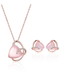 Fashion Pink Triangle Shape Gemstone Decorated Hollow Out Jewelry Sets