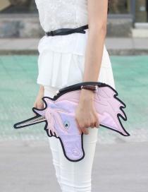 Fashion Yellow Unicorn Shape Decorated Simple Color Matching Handbag