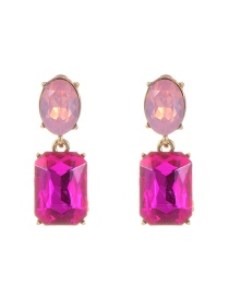 Trendy Plum Red Pure Color Decorated Geometric Shape Simple Earrings