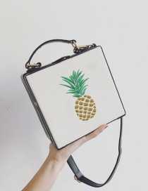 Fashion Black Embroidery Pineapple Pattern Decorated Square Shape Shoulder Bag