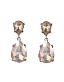 Fashion Champagne Water Drop Shape Diamond Decorated Pure Color Earrings