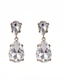Fashion Gold Color Water Drop Shape Diamond Decorated Pure Color Earrings