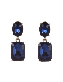 Fashion Dark Blue Pure Color Decorated Geometric Shape Simple Earrings