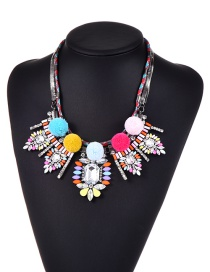 Exaggerate Multi-color Oval Shape &fuzzy Ball Decorated Simple Short Chain Necklace