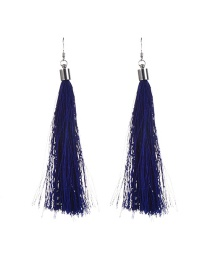 Bohemia Royalblue Pure Color Decorated Simple Tassel Earrings