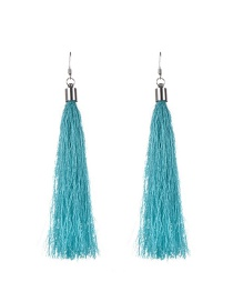 Bohemia Light Blue Pure Color Decorated Simple Tassel Earrings