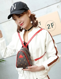 Fashion Red Painting Flower Pattern Decorated Triangle Shape Backpack