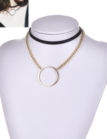 Fashion Gold Color Circular Ring Decorated Double Layer Simple Choker