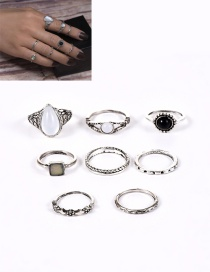 Fashion Silver Color Water Drop Shape Diamond Decorated Simple Ring(7pcs)